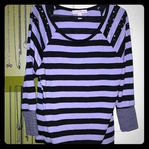 Black and grey striped top with bling sz M